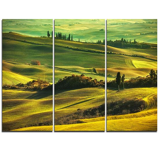 Designart Green Rolling Hills On Misty Sunset Oversized Landscape Wall Art Print