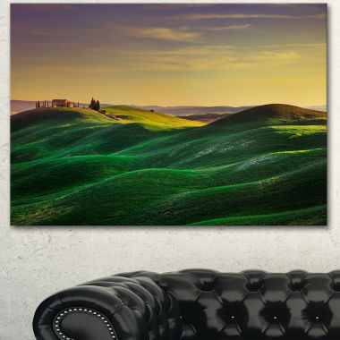 Designart Green Rolling Hils In Crete Senesi Landscape Canvas Wall Art