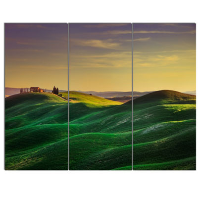 Designart Green Rolling Hils In Crete Senesi Landscape Canvas Wall Art - 3 Panels