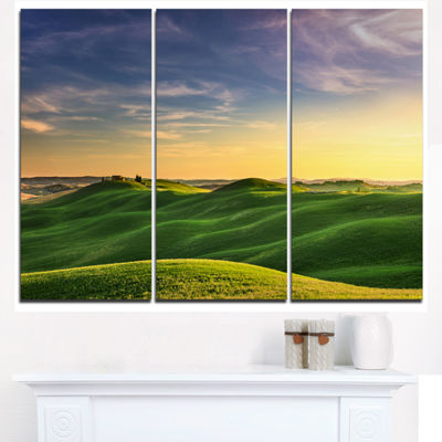 Designart Green Rural Rolling Hills Tuscany Oversized Landscape Wall Art Print