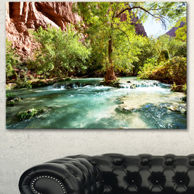 Designart Green Spring Creek In Mountains Landscape Wall Art On Canvas