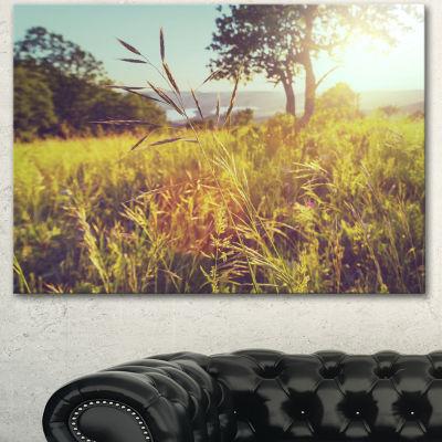 Designart Green Summer Meadow Landscape Canvas ArtPrint - 3 Panels