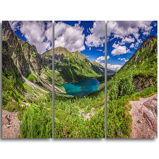 Designart Green Tatra Mountains And Lake Landscapetriptych Canvas Art Print