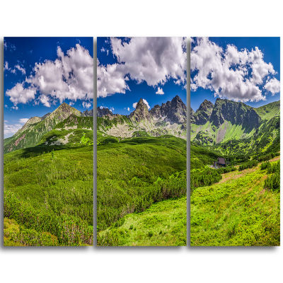 Designart Green Tatras Mountains Panorama Landscape Triptych Canvas Art Print