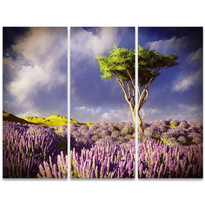 Designart Green Tree In Lavender Field Modern Landscape Wall Art Triptych Canvas