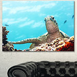 Designart Green Turtle Underwater View OversizedAnimal Wall Art