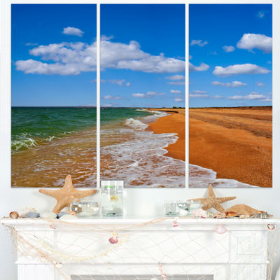 Designart Green Waters On Winter Day Beach Large Seashore Triptych Canvas Print