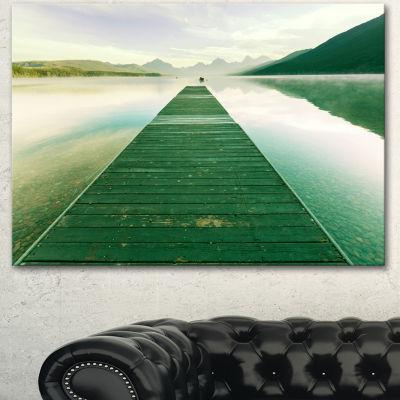 Designart Green Wood Pier At Glacier Park SeashoreCanvas Art Print - 3 Panels