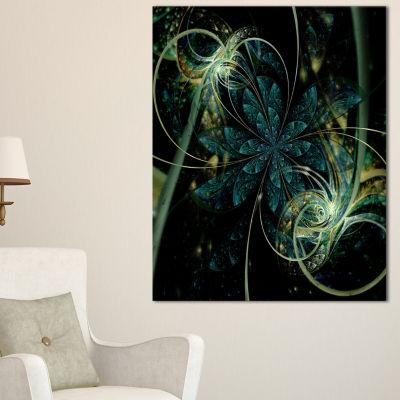 Designart Green Yellow Digital Art Fractal FlowerFloral Canvas Art Print