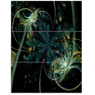 Designart Green Yellow Digital Art Fractal FlowerFloral Triptych Canvas Art Print