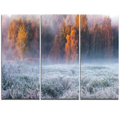 Designart Grey Hoarfrost Design By Winter Landscape Print Wall Artwork