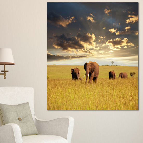 Designart Group Of Elephants In Africa African Canvas Art Print