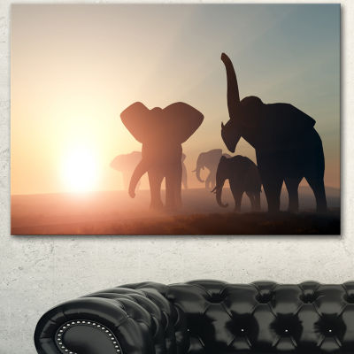 Designart Group Of Elephants In The Wild AfricanCanvas Art Print
