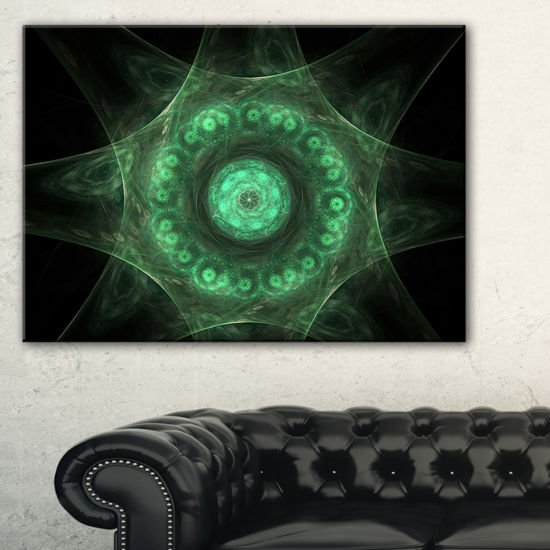 Designart Growing Radial Green Fractal Flower ArtFloral Canvas Art Print