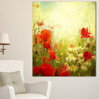 Designart Grunge Background With Red Poppies Floral Canvas Art Print
