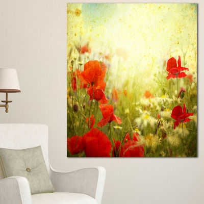 Designart Grunge Background With Red Poppies Floral Canvas Art Print - 3 Panels