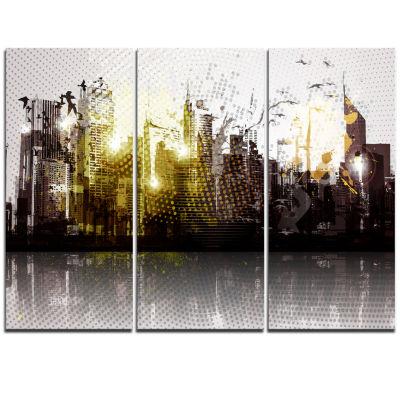 Designart Grunge City Panorama Cityscape TriptychCanvas Print