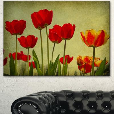 Designart Grunge Flowers Background Floral CanvasArt Print