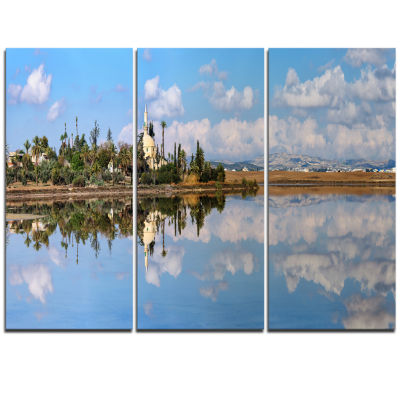 Designart Hala Sulttan Tekke In Cyprus Panorama Extra Large Seashore Triptych Canvas Art