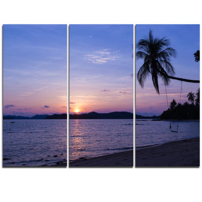 Designart Hanging Seat In Blue Sunset Beach ModernSeashore Triptych Canvas Art