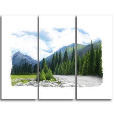 Designart Happy Summer Pastures In Mountains Landscape Triptych Canvas Art Print