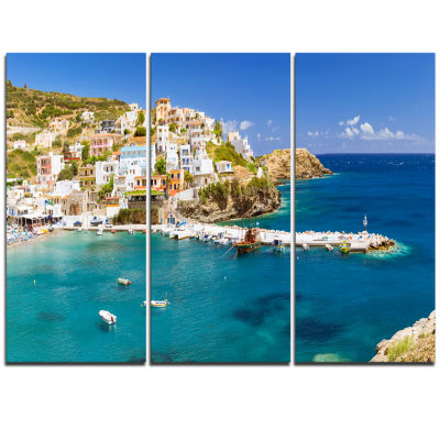 Designart Harbor With Vessels And Boats Large Seascape Art Triptych Canvas Print