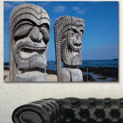 Designart Hawaiian Tiki Gods Oversized Landscape Canvas Art - 3 Panels