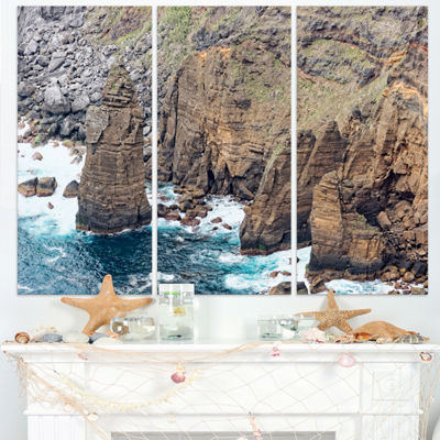 Designart Heave Rocks In Azores Beach Extra LargeSeashore Triptych Canvas Art