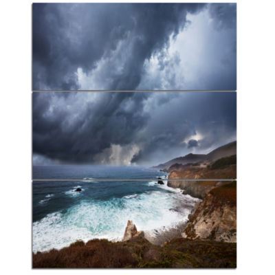 Designart Heavy Blue Clouds And Waves Modern BeachTriptych Canvas Art Print