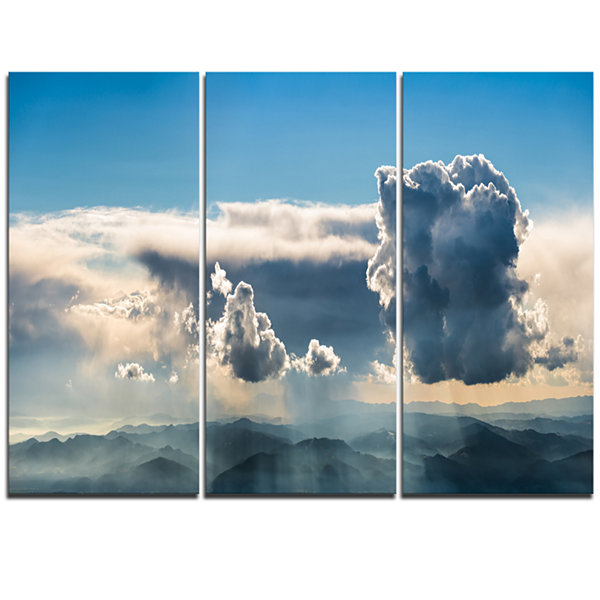 Designart Heavy Clouds In Sky Panoramic View Landscape Triptych Canvas Art Print