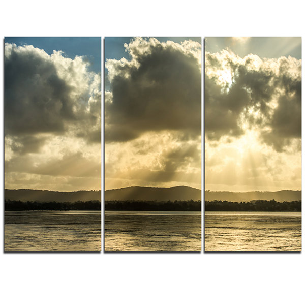 Designart Heavy Clouds Over Foreshore Reserve Large Seashore Triptych Canvas Print
