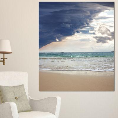 Designart Heavy Clouds Over Pacific Ocean SeascapeCanvas Art Print - 3 Panels