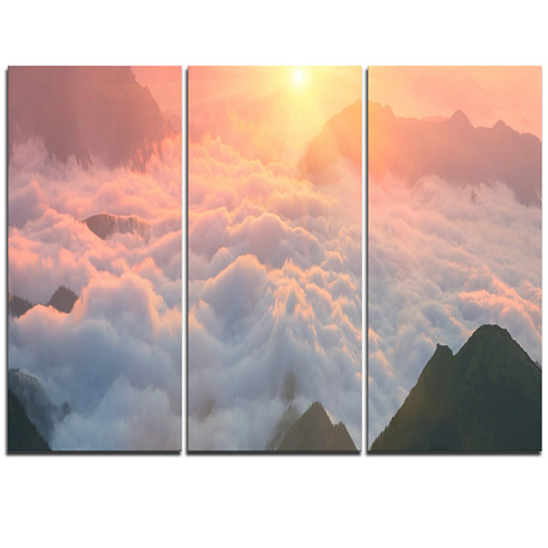 Designart Heavy Fog In Mountains Panorama Contemporary Landscape Triptych Canvas Art