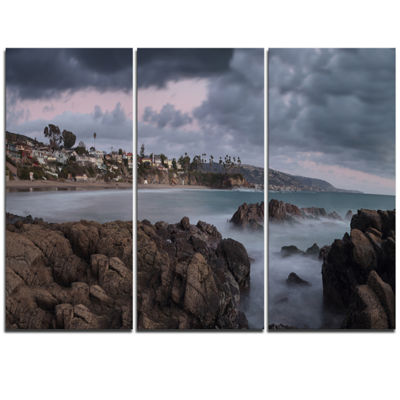Designart Heavy Rain Clouds Over Crescent Bay Oversized Landscape Wall Art Print