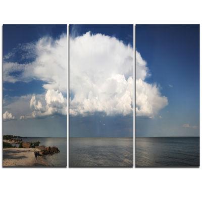 Designart Heavy White Cloud Above Sea ContemporaryLandscape Triptych Canvas Art