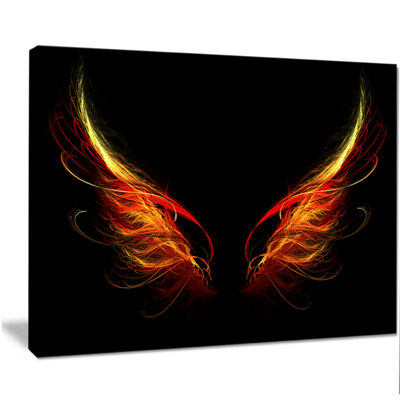 Designart Hell Wings On Black Background AbstractWall Art Canvas