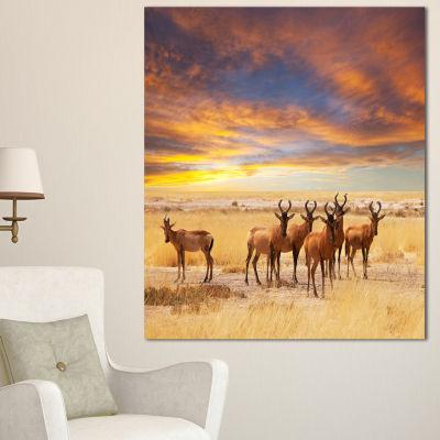 Designart Herd Of Antelope In Etosha Park AfricanLandscape Canvas Art Print - 3 Panels