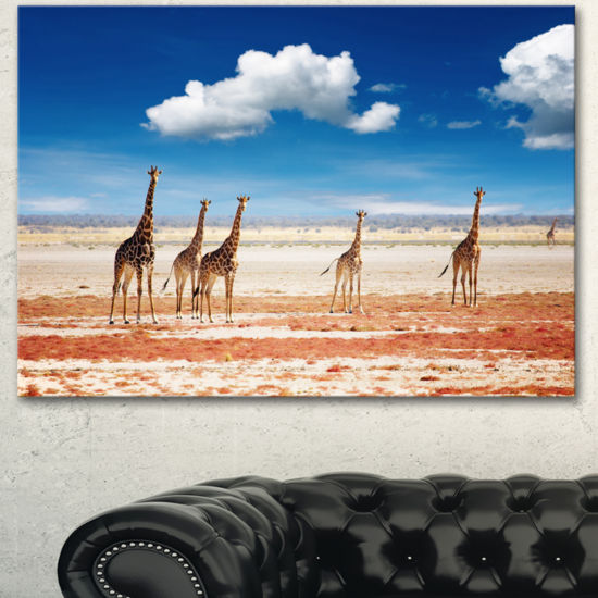 Designart Herd Of Giraffes Etosha National Park African Canvas Art Print