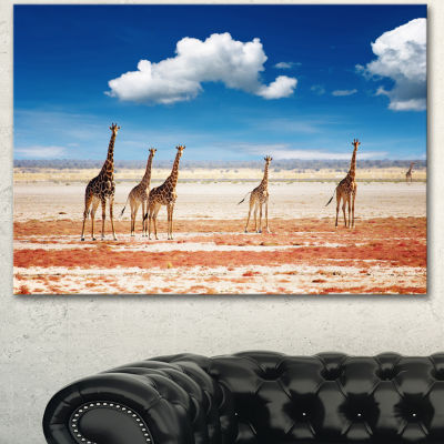 Designart Herd Of Giraffes Etosha National Park African Canvas Art Print - 3 Panels