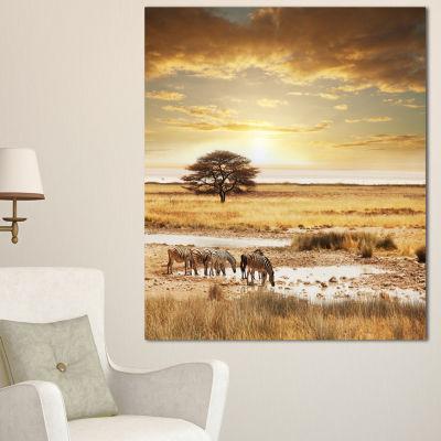 Designart Herd Of Zebras Drinking Water OversizedAfrican Landscape Canvas Art - 3 Panels