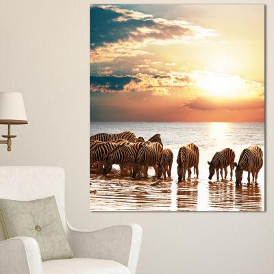Designart Herd Of Zebras In Clear Lake African Landscape Canvas Art Print
