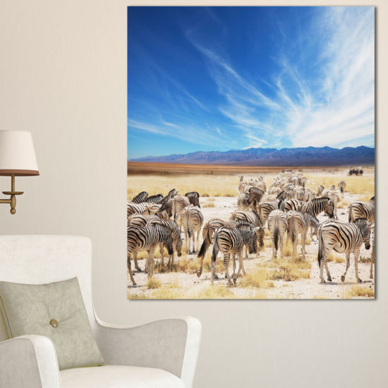 Designart Herd Of Zebras Under Blue Sky African Canvas Art Print