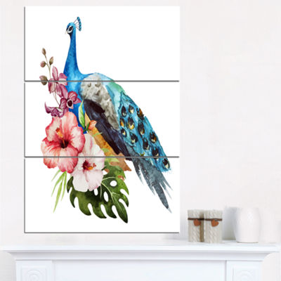 Designart Hibiscus Flowers And Blue Peacock LargeFlower Triptych Canvas Wall Art