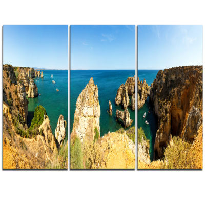 Designart High Cloudy Mountains Panorama OversizedBeach Triptych Canvas Artwork