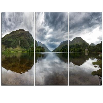 Designart Highland Mirrored In Calm Waters Landscape Triptych Canvas Art Print