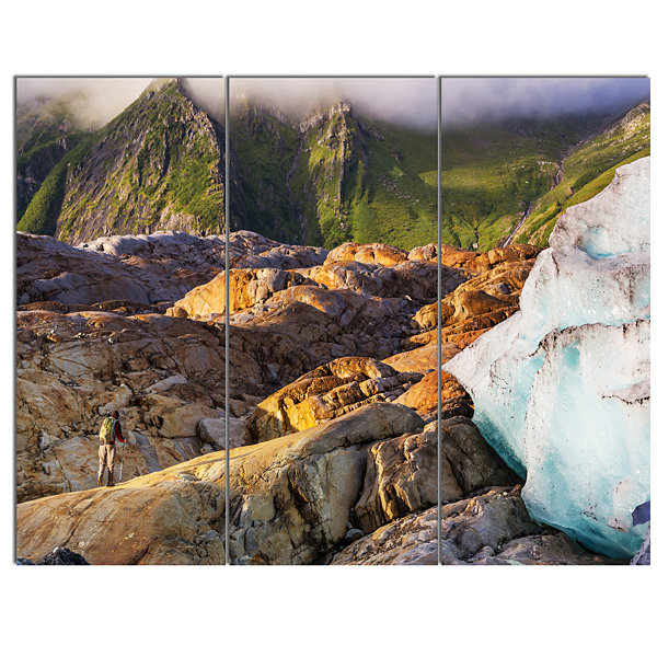 Designart Hike In Norway Mountains Landscape Canvas Art Print - 3 Panels