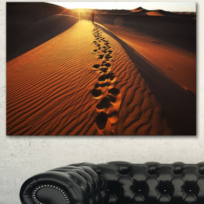 Designart Hikers Footprints In Namib Desert ExtraLarge Landscape Canvas Art - 3 Panels
