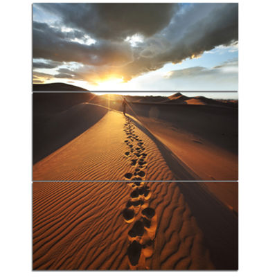 Designart Hiking Path In Desert At Sunset Modern Landscape Wall Art Triptych Canvas