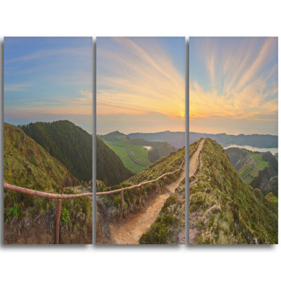 Designart Hiking Trail And Beautiful Lakes Contemporary Landscape Triptych Canvas Art