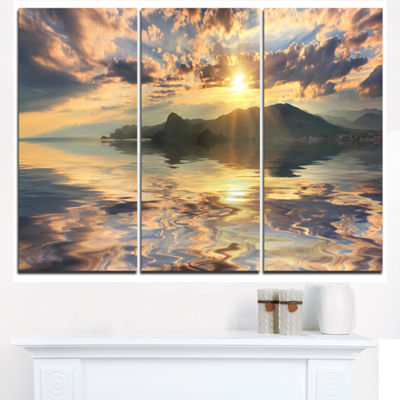 Designart Hill Overlooking The Seaside Town Landscape Triptych Canvas Art Print